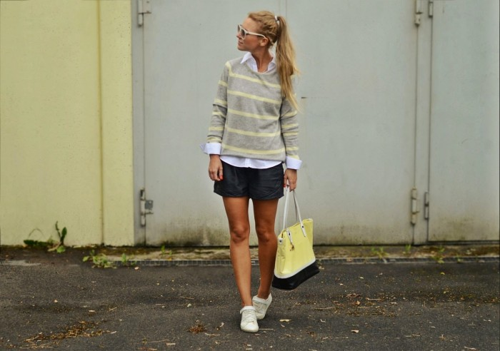 outfit: yellow & grey