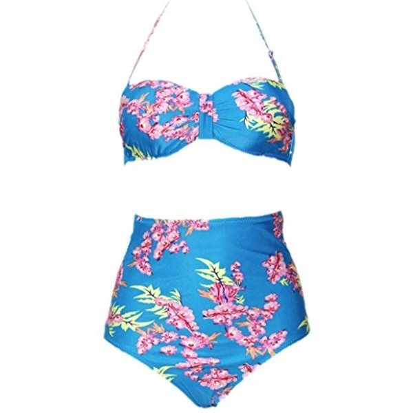 high waist bikini flowers